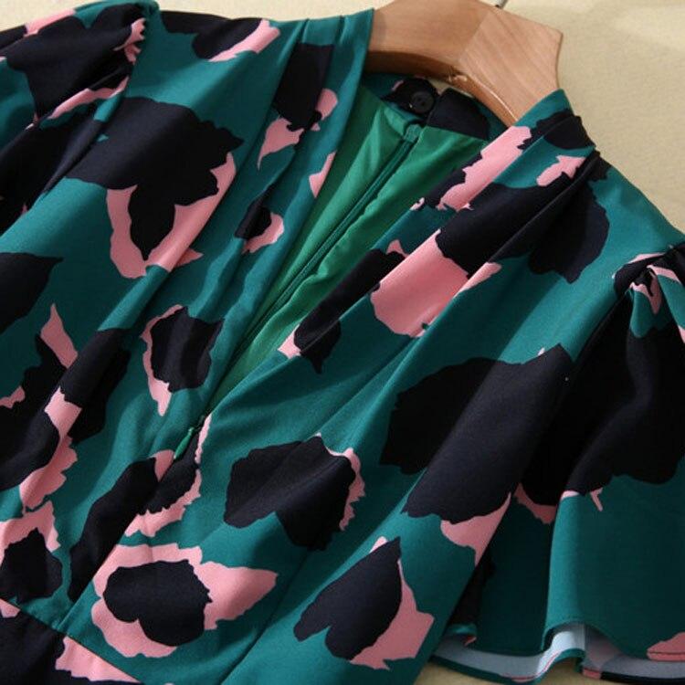 Designer robe de piste de haute qualité 2019 femmes à manches papillon col en v profond imprimé léopard Maxi longue robe SAD385-in Robes from Mode Femme et Accessoires    3