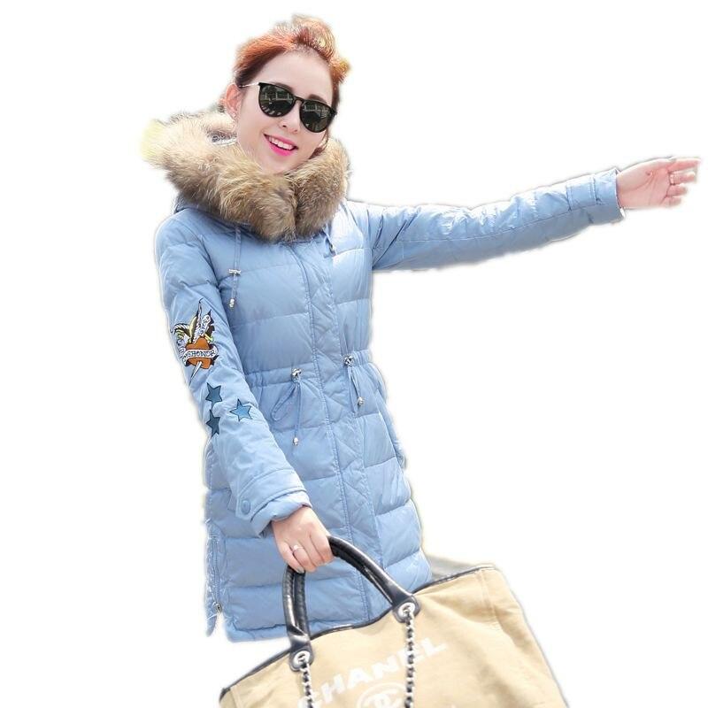 2016 Yeni Kış Büyük Kürk Yaka Kapüşonlu Kadın Yastıklı Ceket ceket Moda Ince Büyük Metre Wadded Ceket Uzun Giyim Parka A1953