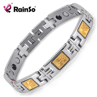 Rainso Jewelry Men Stainless Steel Magnetic Therapy Bracelet Healing 4 Elements Bracelet Cross Buddhism Wristband OSB