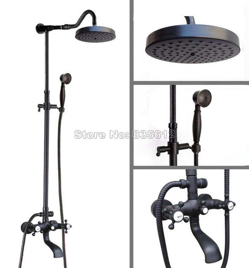 Black Oil Rubbed Bronze Wall Mounted Bathroom Rain Shower Faucet Set ...