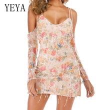 YEYA Sexy Fringed Floral Sequin Dress Elegant Spaghetti Strap V-neck Behide Cross Bandage Bodycon Summer Luxury Overalls