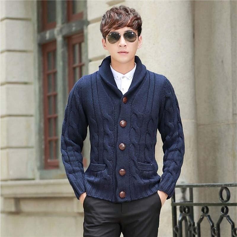 Nouveau Mode Épais Chandail Hommes Casual Cardigan Grossier Laine Coréenne Mâle Chandails Pull En Cachemire Veste Homme Vêtements