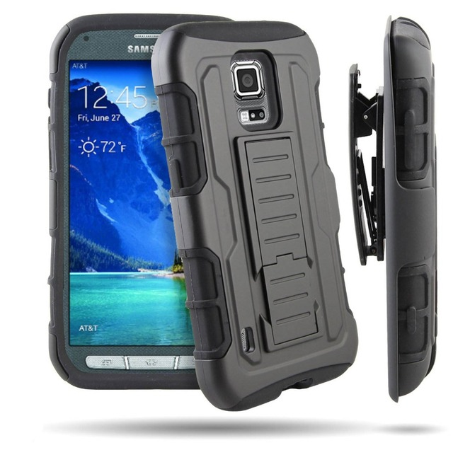 new style 598f0 8d9ba US $6.99  Phone Cases For Samsung Galaxy S5 Active Heavy Duty Hard Case  Rugged Hybrid Full Protective Cover Belt Clip Holster Kickstand on ...