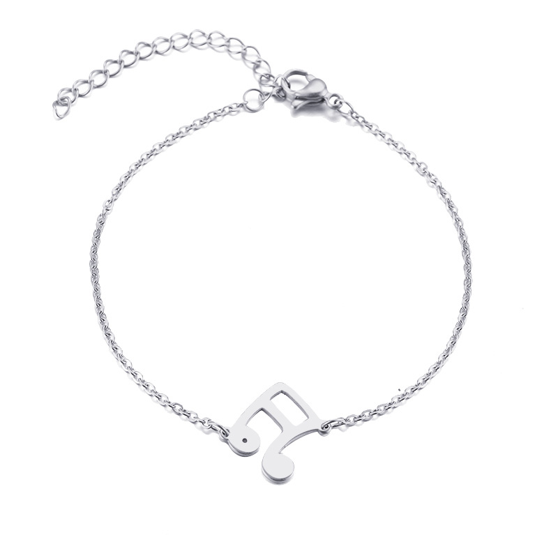 Stainless Steel Bracelet Musical Notes Gold or Silver 090