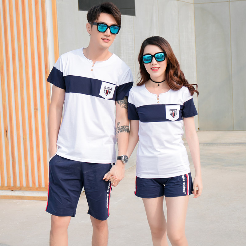 Family Matching T shirt Short Pants | Father Son Mother Daughter Clothes Set | Blue