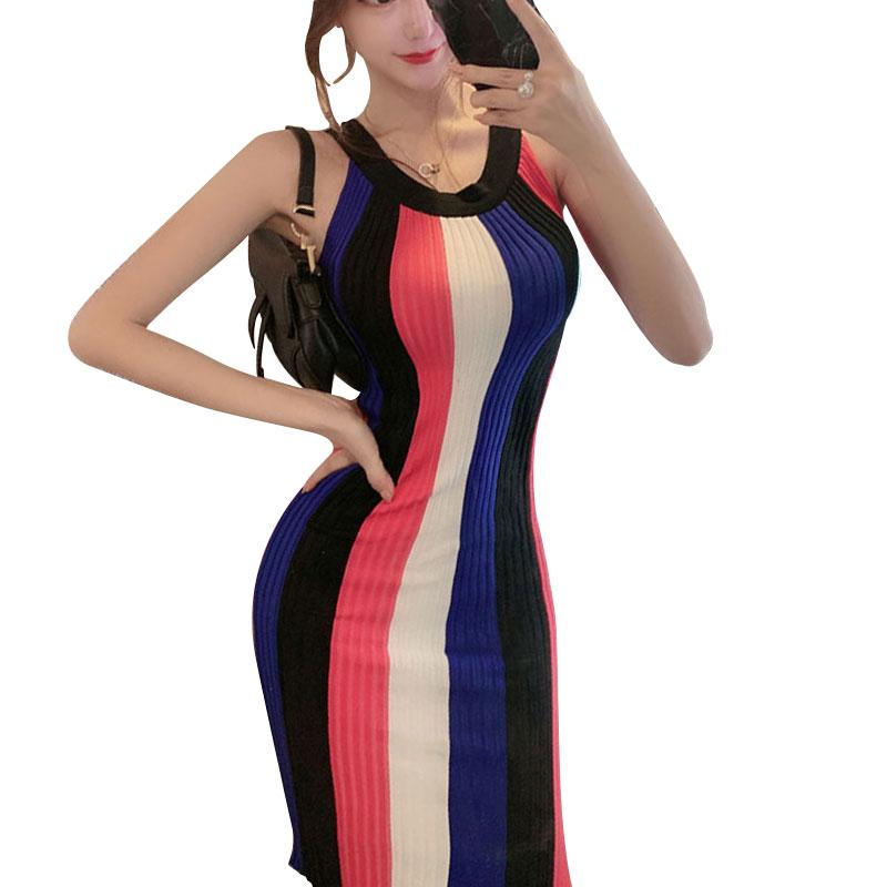Women Summer Halter Tank Dress Strap O Neck Knitted Elastic Rainbow Vertical Striped Slim Bodycon Pencil