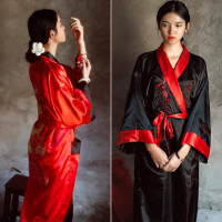 Novelty Reversible Black Red Women Kimono Yukata Satin Embroidery Dragon Nightgown One Size Robe Gown Two Side Sleepwear