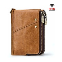 Men's business wallet double zipper buckle soft PU leather wallet large capacity multi card big bills bag change bag