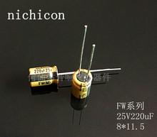 20pcs/50PCS NICHICON acoustic capacitance FW series 25v220uf 8*11.5 audio super capacitor electrolytic capacitors free shipping