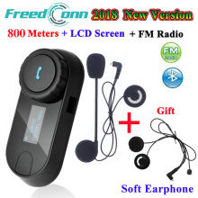 FreedConn TCOM SC Bluetooth Intercom Motorcycle Helmet Wireless Headset Interphone with LCD FM Radio+Extra Soft Earphone