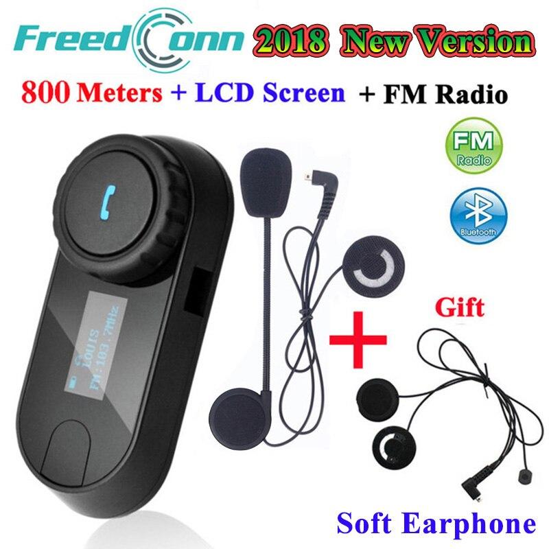 FreedConn TCOM-SC Interfone Interfone Do Bluetooth Capacete Da Motocicleta fone de Ouvido Sem Fio com Rádio FM LCD + Extra Fone de Ouvido Macio
