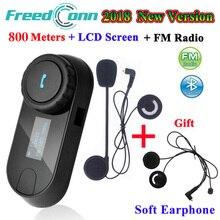 Freedconn TCOM SC bluetooth インターホンオートバイヘルメットワイヤレスヘッドセットインターホン lcd fm ラジオ + 余分なソフトイヤホン
