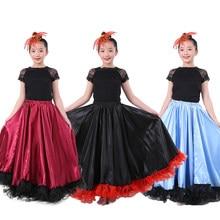 2cbad328183bdc Peuter Meisjes Gypsy Stijl Spaanse Flamenco Rok Polyester Luxe Kant Grote  Swing Buikdansen Kleding Ballroom Kostuums