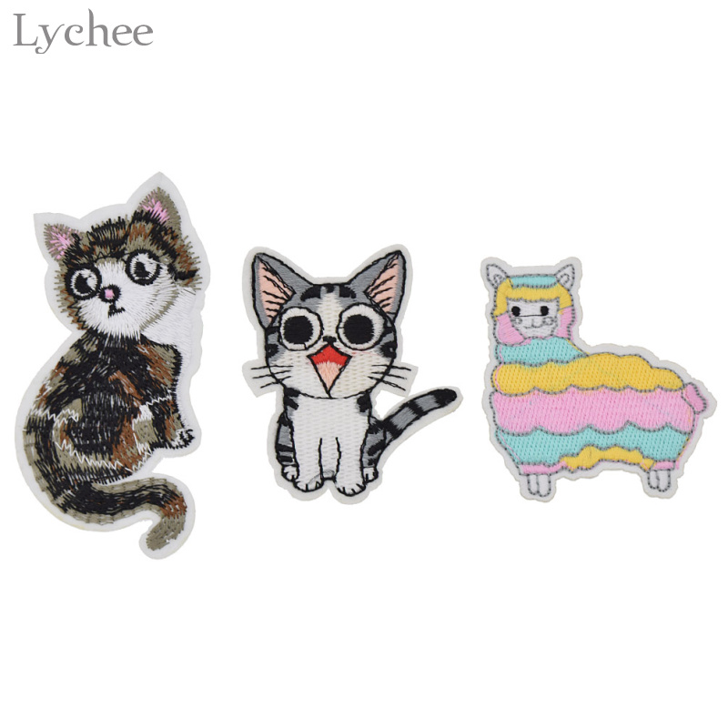 Diy Handmade Embroidered Patch: Lychee Cartoon Alpaca Cat Iron On Patches Embroidered