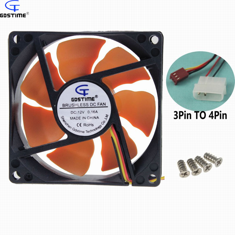 1 Piece Gdstime 8cm Ultra Quiet Silent Cooling Fan 80mm x 25mm DC 12V PC CPU Computer Chassis Case Cooler with excellent quality regal bar stool villa living room coffee stool yellow red color furniture shop retail wholesale design free shipping