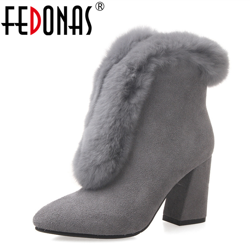 FEDONAS Fashion Women Thick High Heeled Ankle Boots Women Sexy Genuine Leather Rabbit Fur Warm Winter Snow Boots Shoes Woman