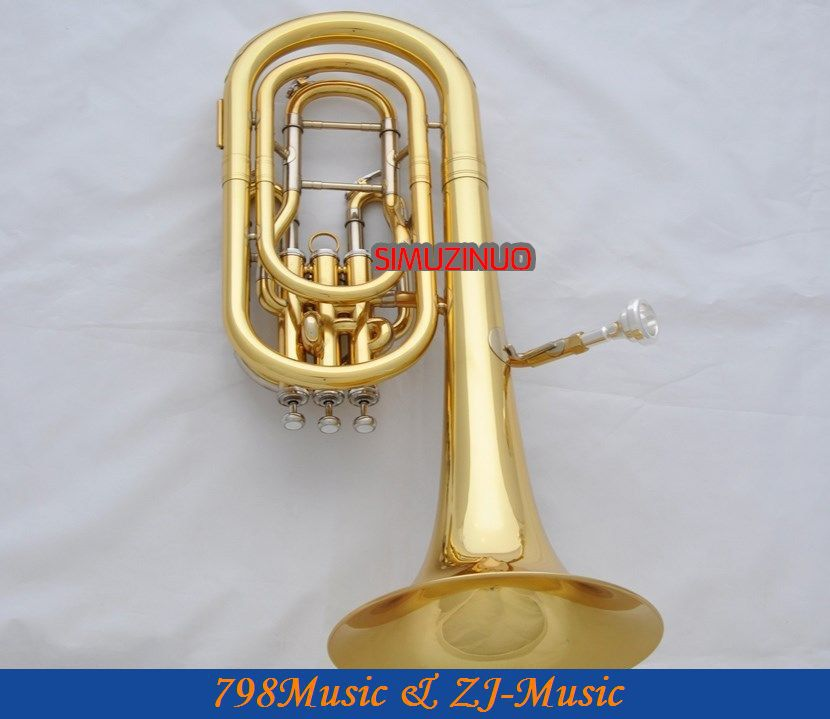 Professional NEW Gold Compensating Baritone horn B Flat Monel Valves With Case