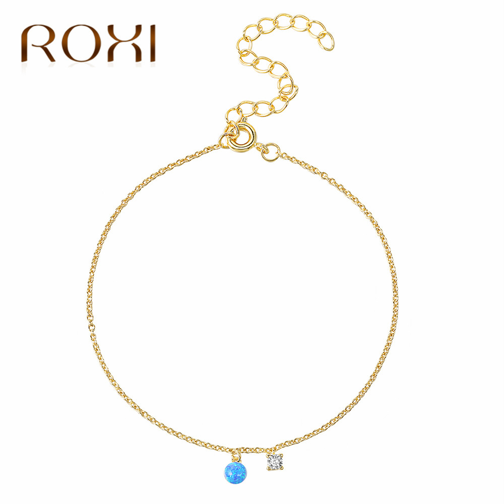ROXI Fashion Crystal Opal Anklet Bracelet Gold Color Barefoot Sandals Foot Jewelry Leg Chain On Foot Pulsera Tobillo For Women