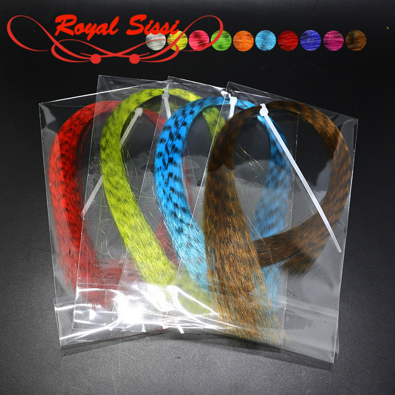 10 colores opcionales Zebra Grizzly Fly Tying Minnow Fibras Black Barred Pelo sintético Fibras Pike Streamers Fly Tying FMaterials