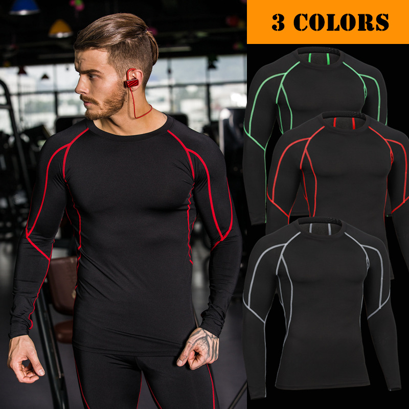 Mens Compression New Under Skins Base Layer Tight Long Sleeve Shirt Athletic Top