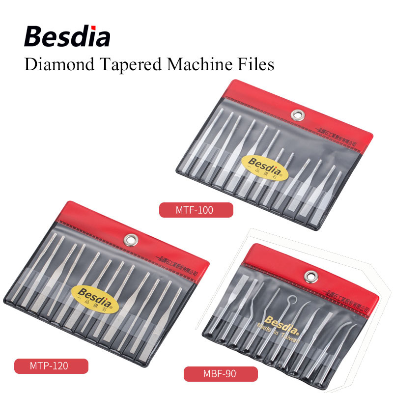 TAIWAN Besdia Diamond Tapered Machine Files Hand Tool or assort with Turbo Air Lappers MTP120 MTF100 image