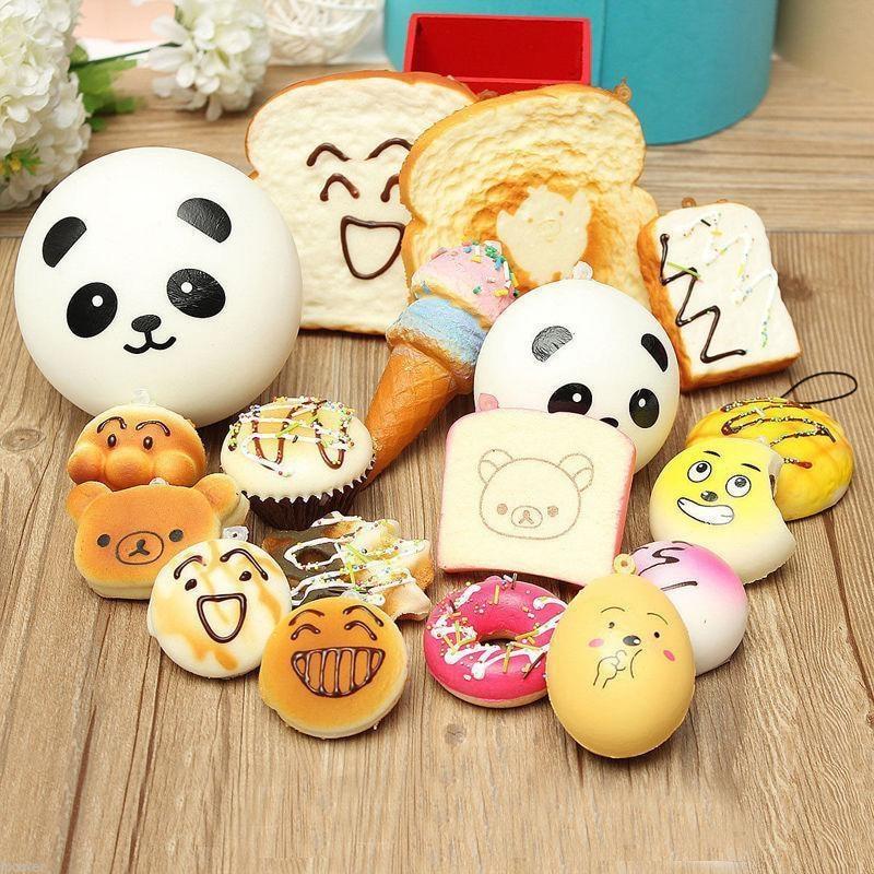 30 stücke 20 stücke 10 stück Zufalls DIY Lustige Squishy Langsam Rising Jumbo Squeeze Toast Kuchen Brot Panda eis telefon Straps Spielzeug Dekoration