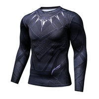 Black Panther Fitness Compression Shirt Men Cosplay Crossfit Plus Size Bodybuilding T Shirt 3D Printed Superman