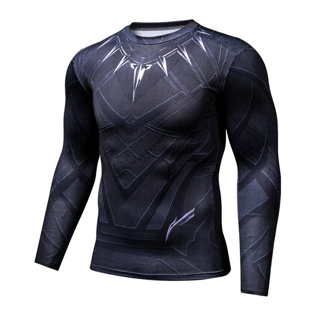 Black Panther Fitness Compression Shirt Men Cosplay