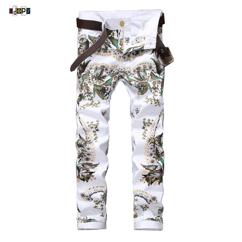 ФОТО American Style Cool Mens Jeans Printed Designer Brand High Quality Night Club Stylish Jeans Pants For Male