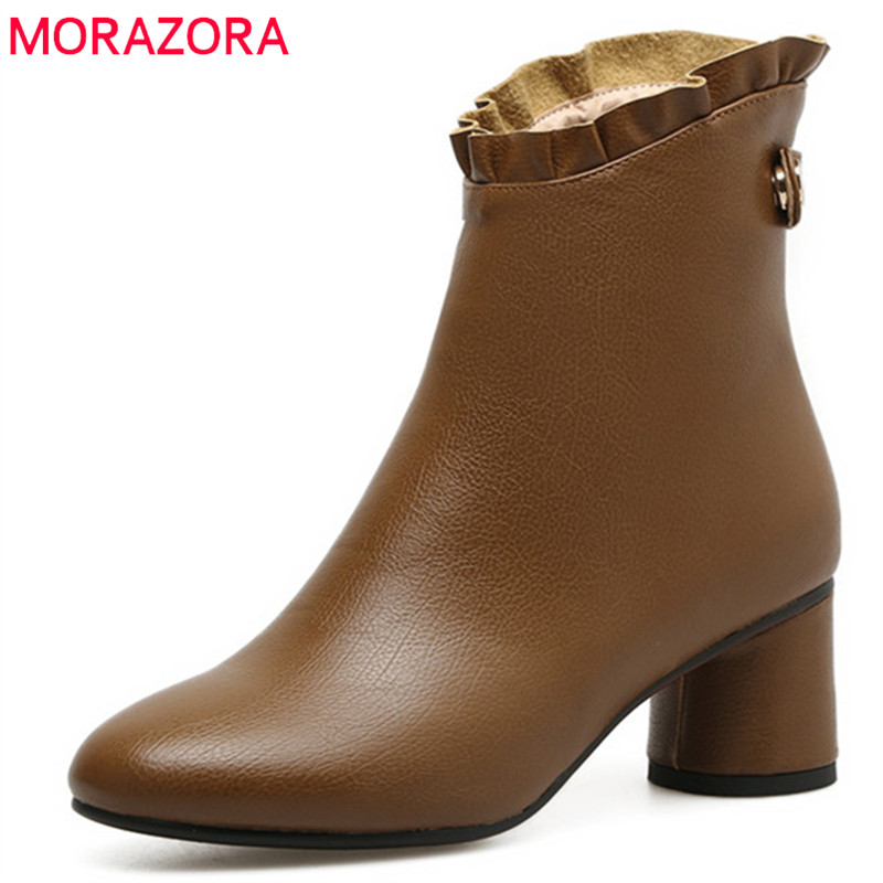MORAZORA After zipper high heels shoes woman PU soft leather womens boots in spring autumn ankle boots fashion party