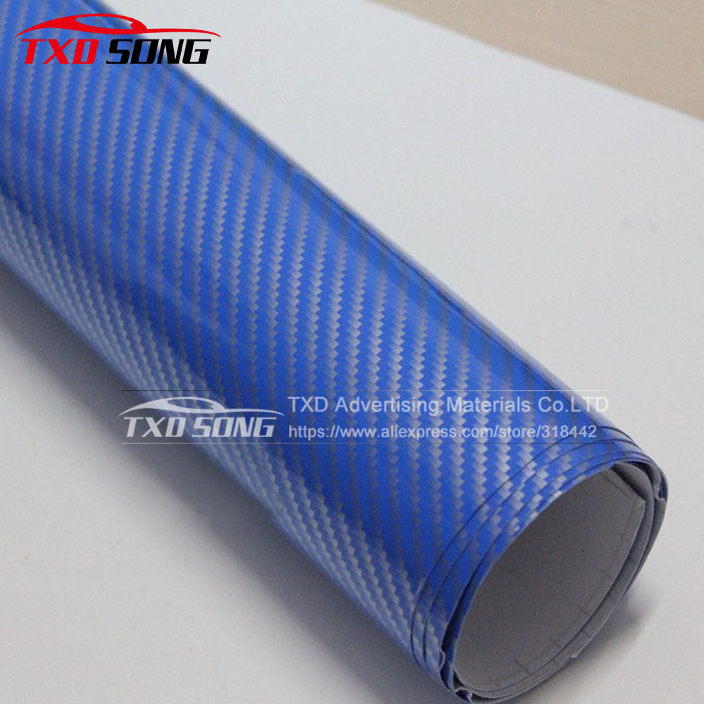 Glossy blue 2d carbon fiber vinyl wrap film diy car sticker car decorative for vehicle motorcycle by free shipping