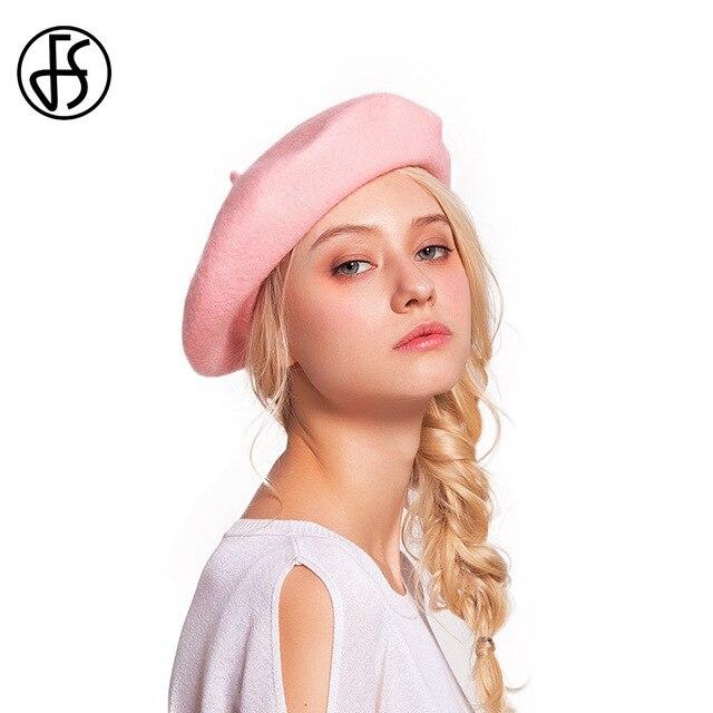 FS Chapéu Boina de Lã Para As Mulheres Inverno Feminino Rosa Clássico Boinas  Boinas de Feltro 368e1739bf7