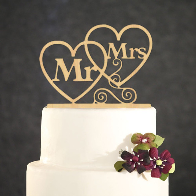 Wedding Cake Topper Personalized Gold Mr Mrs Acrylic Two Love Heart
