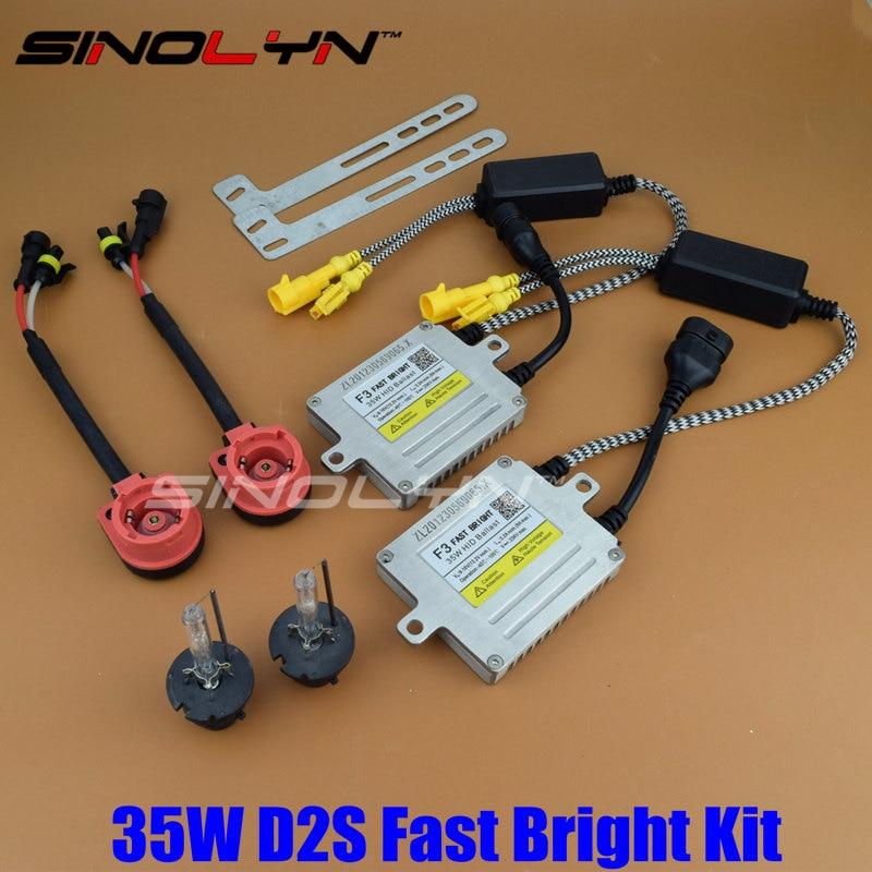 Premium Upgrade Fast Start Quick Bright AC 35W D2S HID Xenon Kit With F3 Digital Slim Ballast Reactor Block ignition Bulbs
