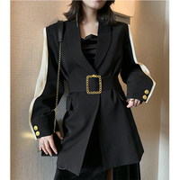 Runway Designer Trendy Chic Womens Blazer Belted Black Patchwork Metal Gold Button Fashion OL Ladies Jacket Coat Outwear