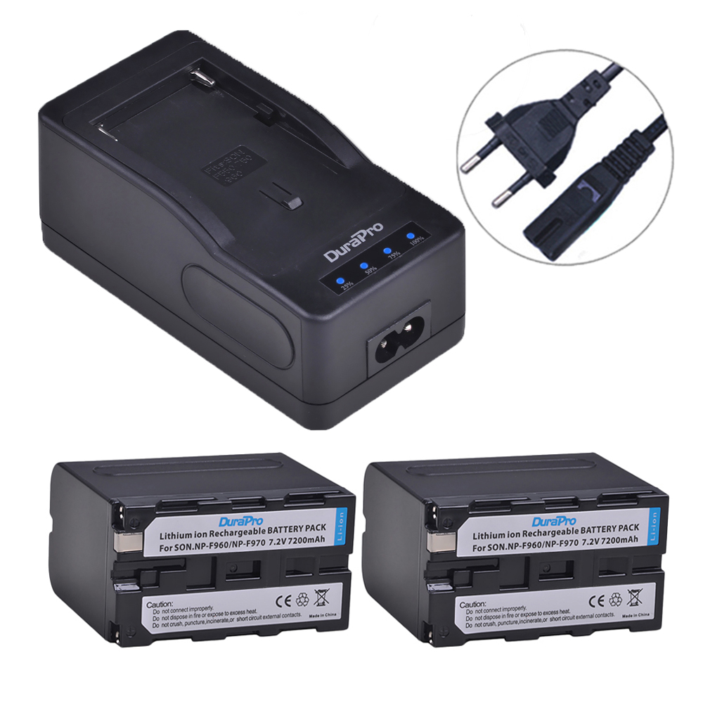 DuraPro 2x7200mAH NP-F960 NP-F970 Camera Batteries +LED Ultra Rapid Charger for <font><b>Sony</b></font> DCR-<font><b>VX2100</b></font>,DSR-PD150,PD170,FDR-AX1,HDR-AX20 image