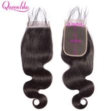 Queenlike גוף גל 4x6 תחרה סגירת מראש קטף עם תינוק שיער קו שיער טבעי רמי ברזילאי שיער טבעי 4*6 Kim K סגירה