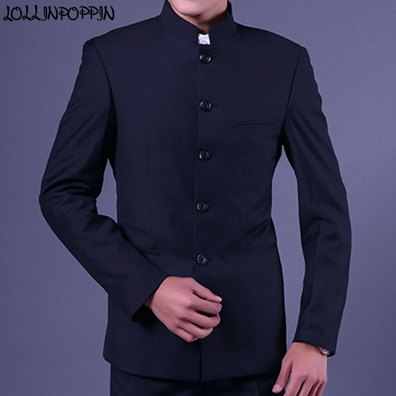 Mandarin Collar Men Navy Blue Suit Jacket Traditional Chinese Style Single Breasted Mens Tunic Jacket Uniform Jackets