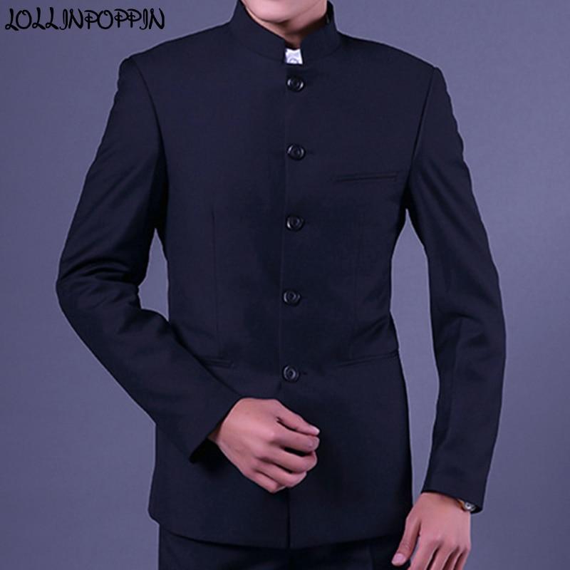 Mandarin Collar Men Navy Blue Suit Jacket Traditional Chinese Style Single Breasted Mens Tunic Jacket Uniform Jackets