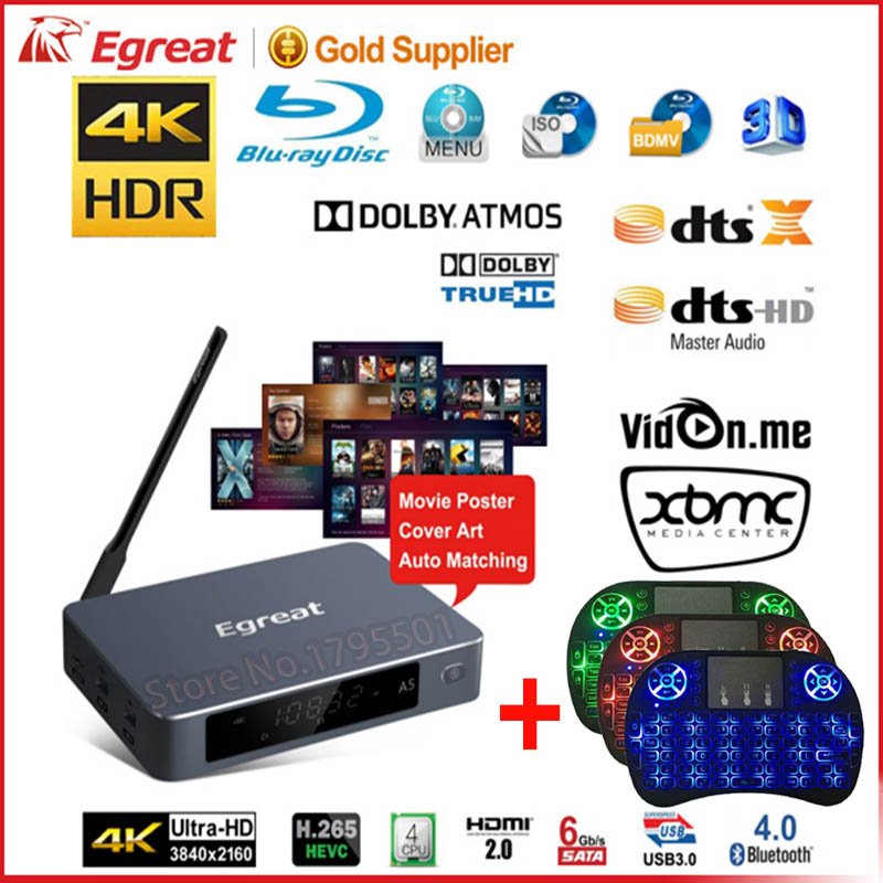 Egreat A5 Intelligent Android 5.1 TV Box 3D 4 K Blu-ray Smart Media lecteur avec HDR USB3.0 Suppot SATA OTA Blu-ray Disque Dolby Ture HD