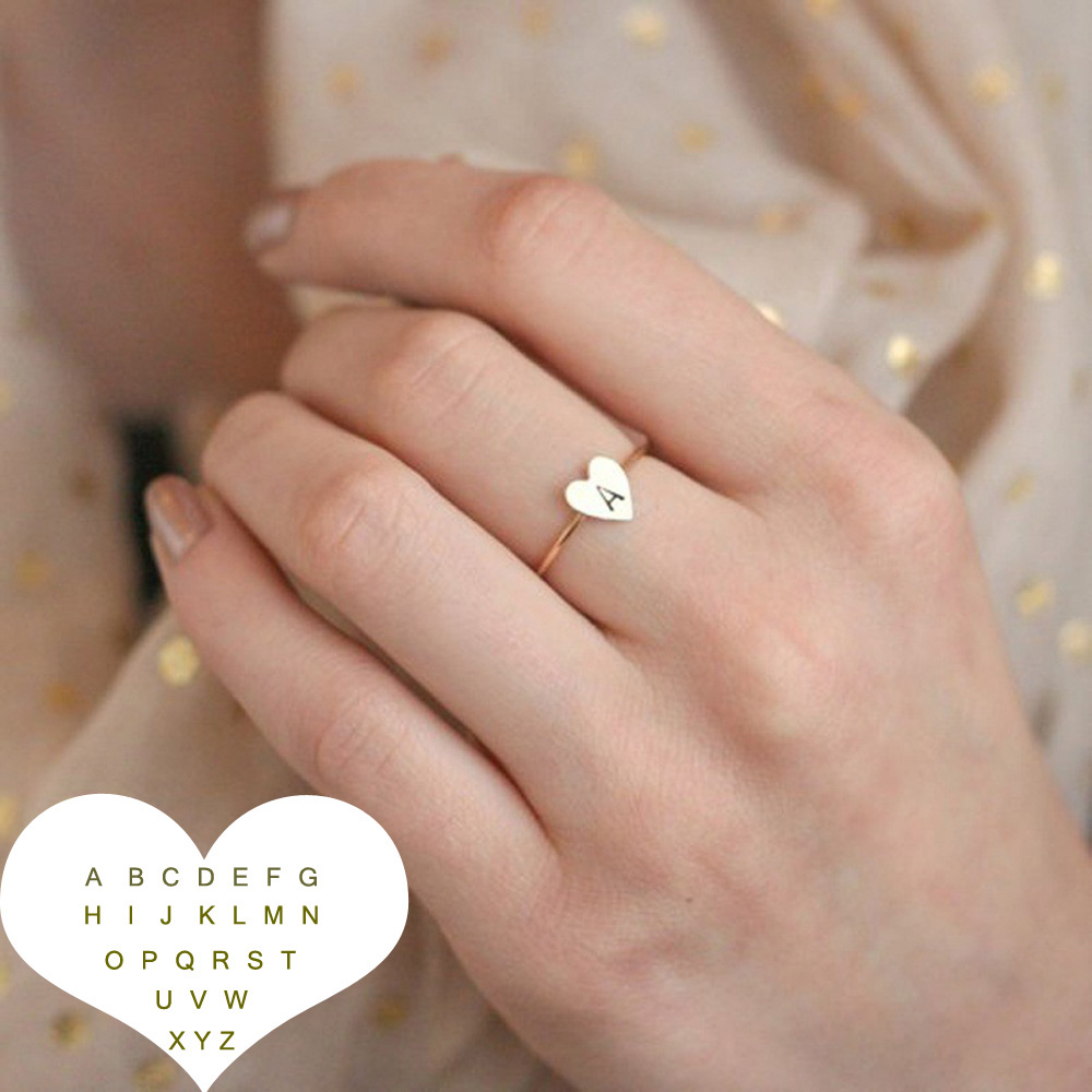 Adjustable Personalized Hand Stamped Stacking A-Z 26 Letters Initial Tiny Heart Rings for Women Gold Color Finger Rings Jewelry