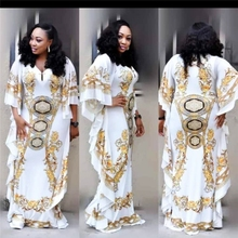 African Dresses for Women Dashiki Print Evening Long Bazin Riche Clothing White Yellow Robe Wide