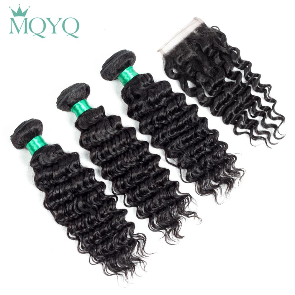 MQYQ 3pcs Deep Wave Brazilian Hair Bundles With Closure Non-remy Human Hair Weaving Deep Wave Hair Weave With Lace Closure