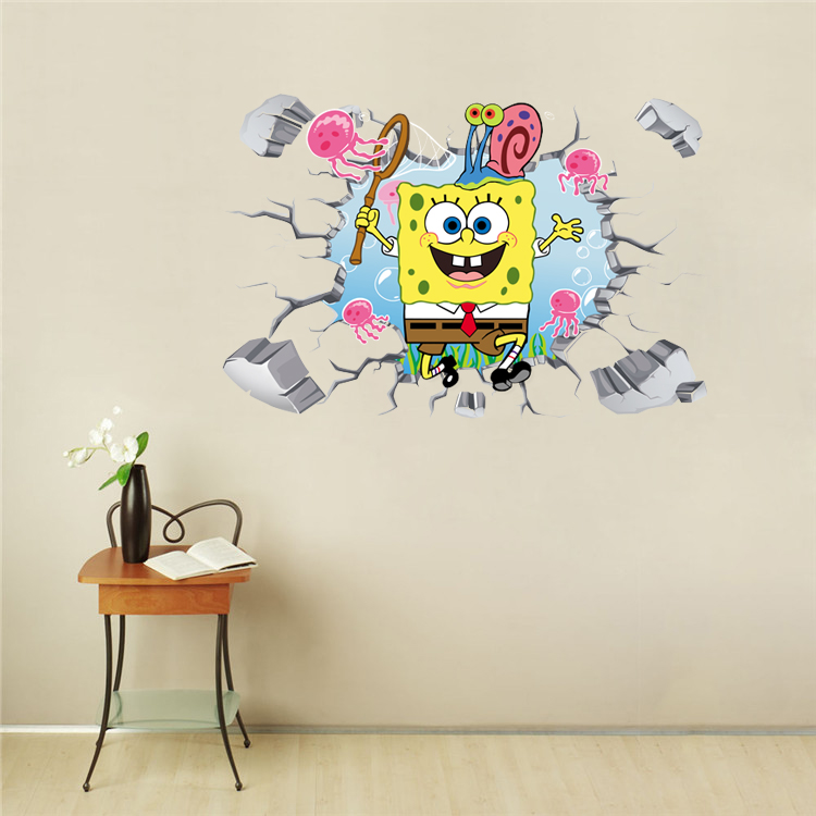 Us 9 99 Spongebob 3d 4d Floor Wall Decals Removable Stickers Kids Bathroom Decor Free Shipping In Wall Stickers From Home Garden On Aliexpress Com