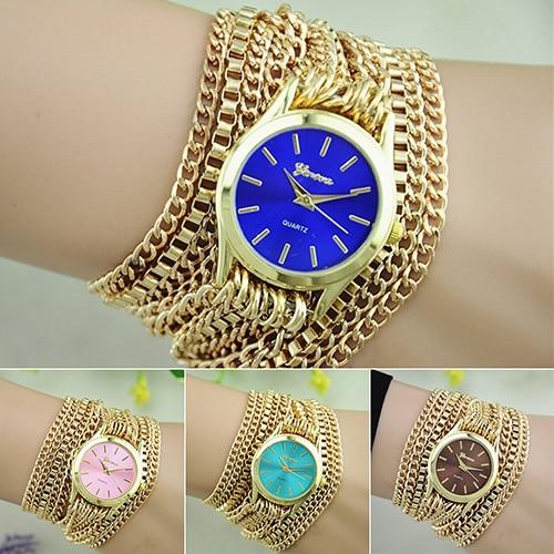 Women Men Adjustable Clasp Golden Chain Band Bracelet Jewelry Wrist Watches