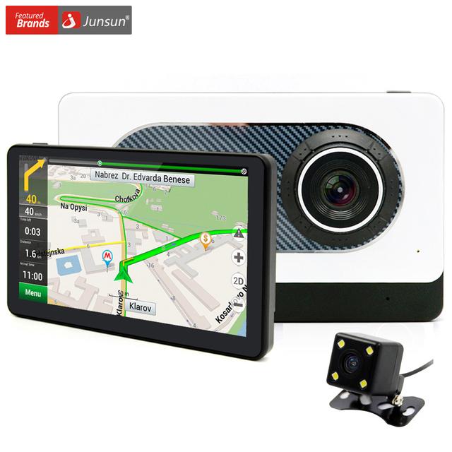 Junsun 7 polegada retrovisor do carro de navegação gps android 4.4 com câmera dvr gravador quad-core wifi/fm navegador dual lens