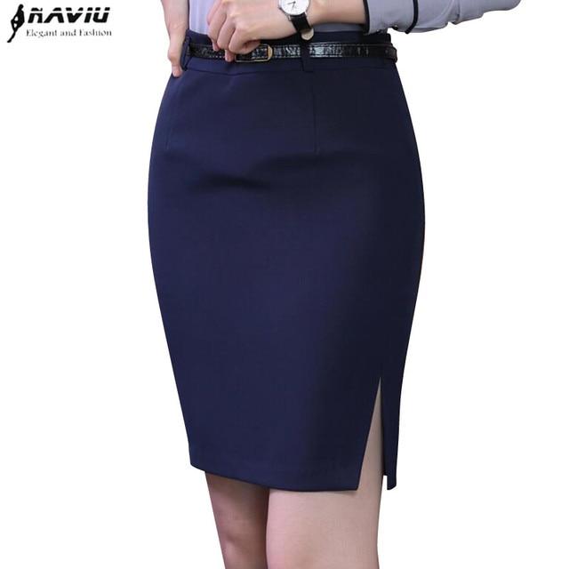 97f8a02788 Spring fashion slim black navy blue skirt women elegant all-match slim  formal female office Business plus size Mini short skirt