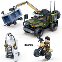 Modern military Pursuit and Interception Warfare batisbricks minifigs Armored car block ww2 tiger action army figure bricks toys