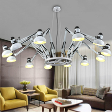 Cheaper Retro office chandelier clothing store restaurant industry individuality creative spider telescopic droplight, wrought iron bar