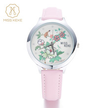 MISS KEKE Girls Kids Watches mini word Flower Leather strap Wristwatches For Student Cartoon wood watch Clock montre enfant 1321